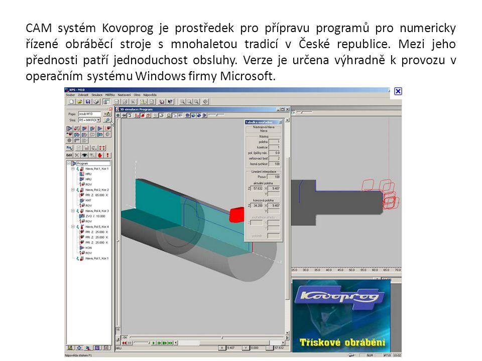 CAM systém Kovoprog je prostředek pro přípravu programů pro numericky řízené obráběcí stroje s mnohaletou tradicí v České republice. Mezi jeho přednos