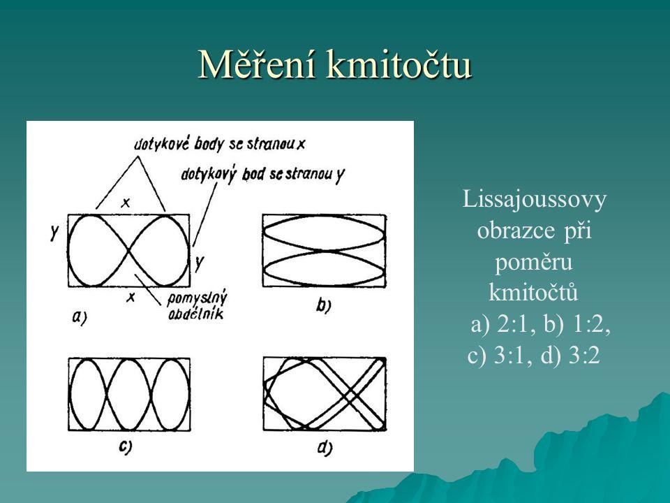 Měření kmitočtu Lissajoussovy obrazce při poměru kmitočtů a) 2:1, b) 1:2, c) 3:1, d) 3:2