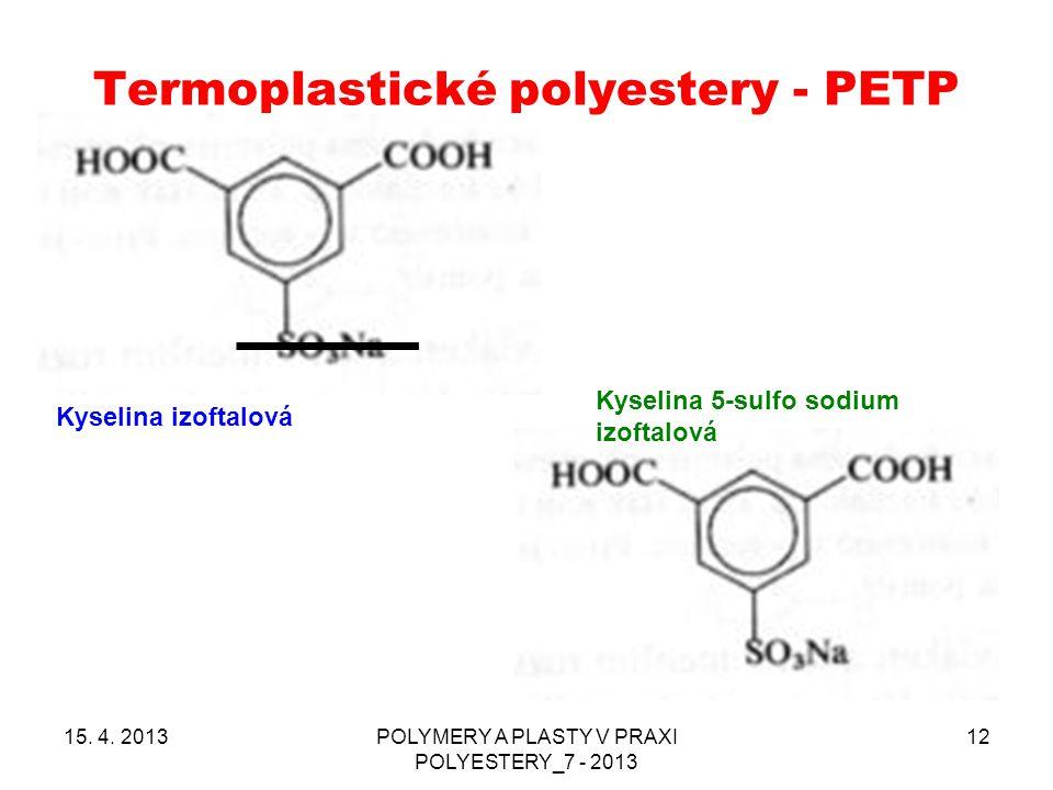 Termoplastické polyestery - PETP 15. 4. 2013POLYMERY A PLASTY V PRAXI POLYESTERY_7 - 2013 12 Kyselina izoftalová Kyselina 5-sulfo sodium izoftalová