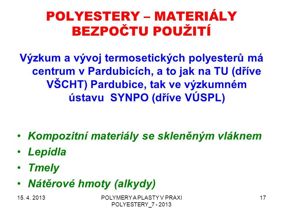 POLYESTERY – MATERIÁLY BEZPOČTU POUŽITÍ 15. 4. 2013POLYMERY A PLASTY V PRAXI POLYESTERY_7 - 2013 17 Výzkum a vývoj termosetických polyesterů má centru