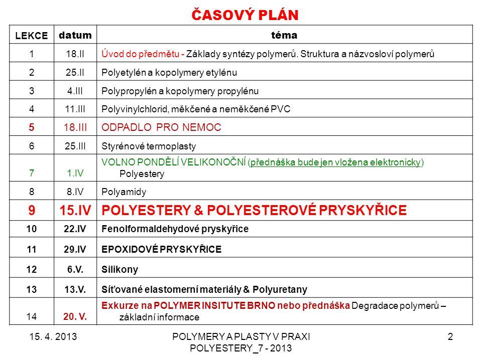 POLYMERY A PLASTY V PRAXI POLYESTERY_7 - 2013 2 ČASOVÝ PLÁN LEKCE datumtéma 118.IIÚvod do předmětu - Základy syntézy polymerů. Struktura a názvosloví
