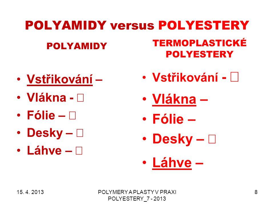 POLYAMIDY versus POLYESTERY POLYAMIDY TERMOPLASTICKÉ POLYESTERY 15. 4. 2013POLYMERY A PLASTY V PRAXI POLYESTERY_7 - 2013 8 Vstřikování –  Vlákna -