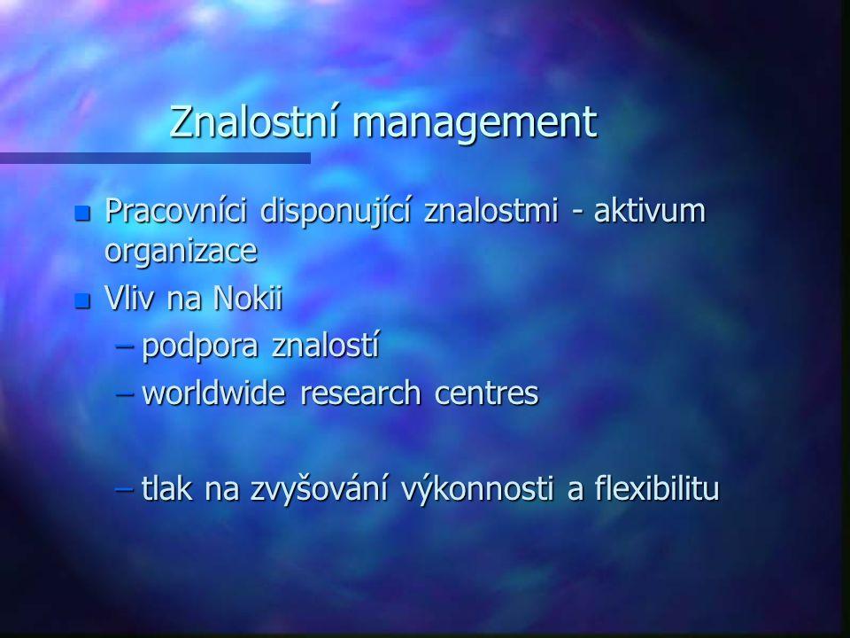 Znalostní management n Pracovníci disponující znalostmi - aktivum organizace n Vliv na Nokii –podpora znalostí –worldwide research centres –tlak na zv