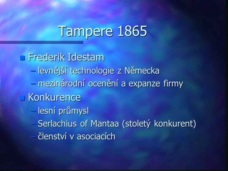Tampere 1865 n Frederik Idestam –levnější technologie z Německa –mezinárodní ocenění a expanze firmy n Konkurence –lesní průmysl –Serlachius of Mantaa