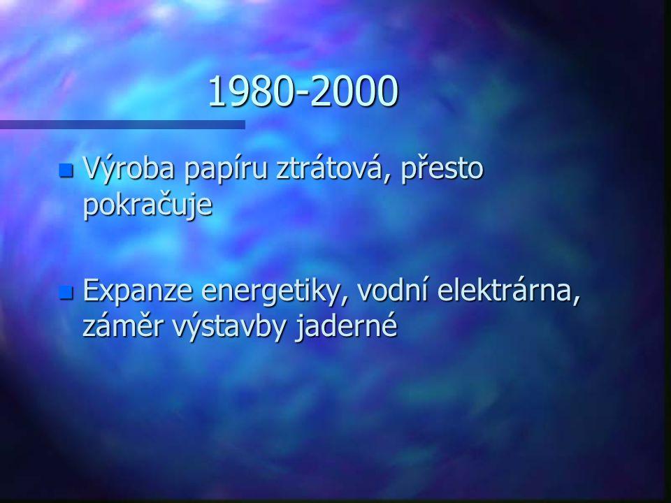 1980-2000 n Výroba papíru ztrátová, přesto pokračuje n Expanze energetiky, vodní elektrárna, záměr výstavby jaderné