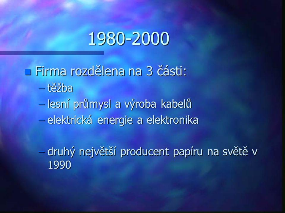 1980-2000 n Firma rozdělena na 3 části: –těžba –lesní průmysl a výroba kabelů –elektrická energie a elektronika –druhý největší producent papíru na sv