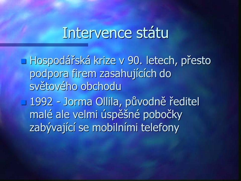 Intervence státu n Hospodářská krize v 90. letech, přesto podpora firem zasahujících do světového obchodu n 1992 - Jorma Ollila, původně ředitel malé