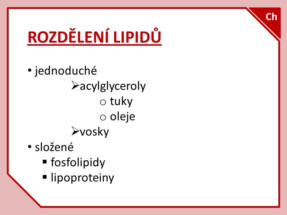 ROZDĚLENÍ LIPIDŮ jednoduché  acylglyceroly o tuky o oleje  vosky složené  fosfolipidy  lipoproteiny Ch