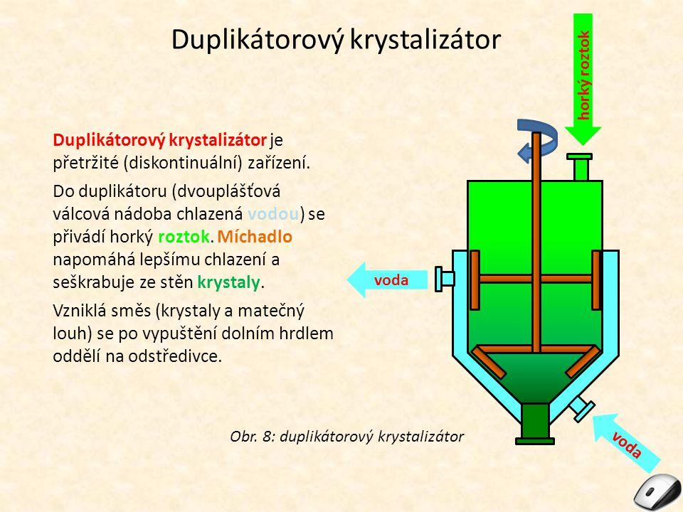 Duplikátorový krystalizátor Duplikátorový krystalizátor je přetržité (diskontinuální) zařízení. Do duplikátoru (dvouplášťová válcová nádoba chlazená v
