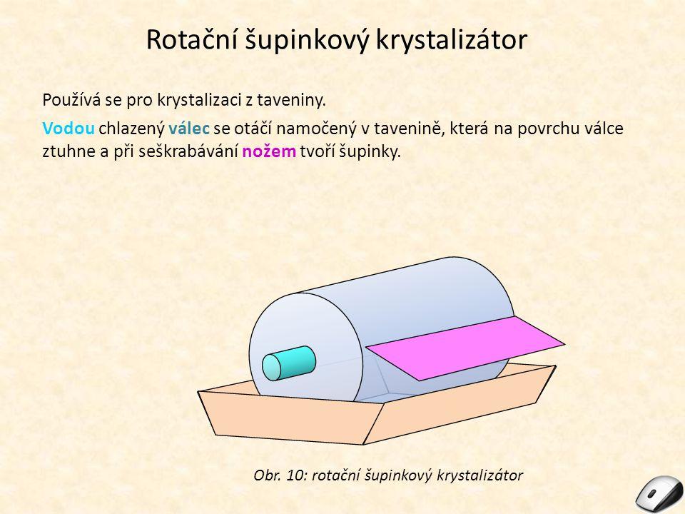 Rotační šupinkový krystalizátor Používá se pro krystalizaci z taveniny. Vodou chlazený válec se otáčí namočený v tavenině, která na povrchu válce ztuh