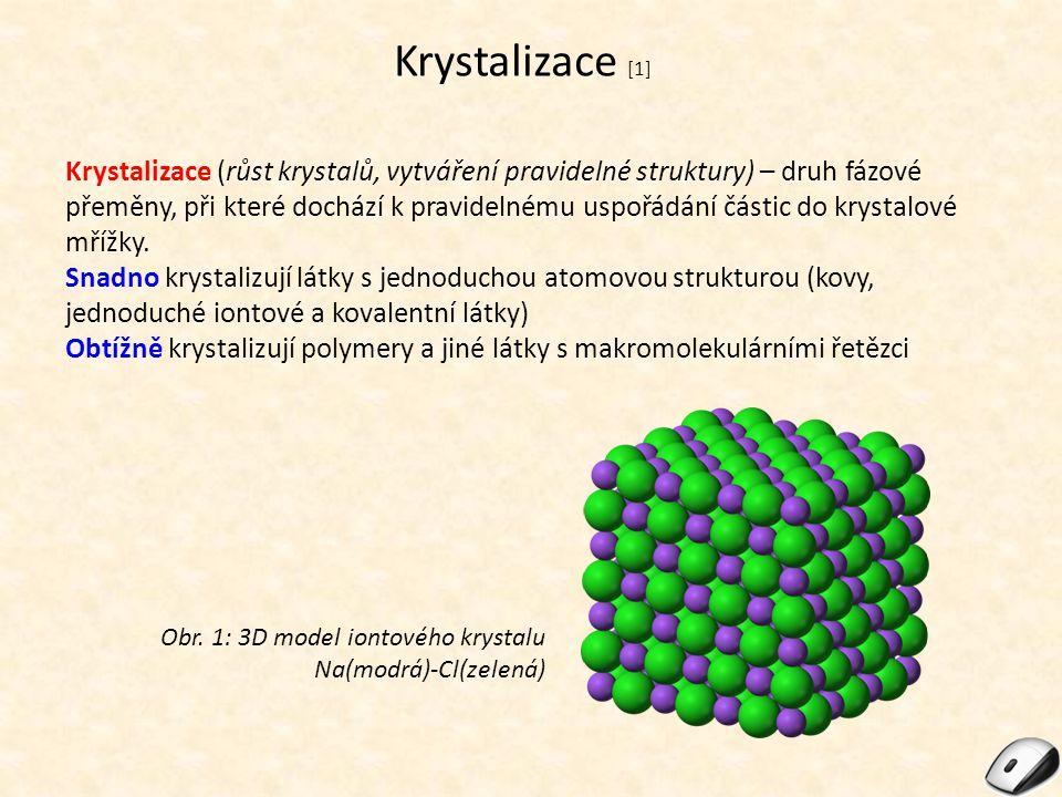 Krystalizace [1] Krystalizace (růst krystalů, vytváření pravidelné struktury) – druh fázové přeměny, při které dochází k pravidelnému uspořádání části