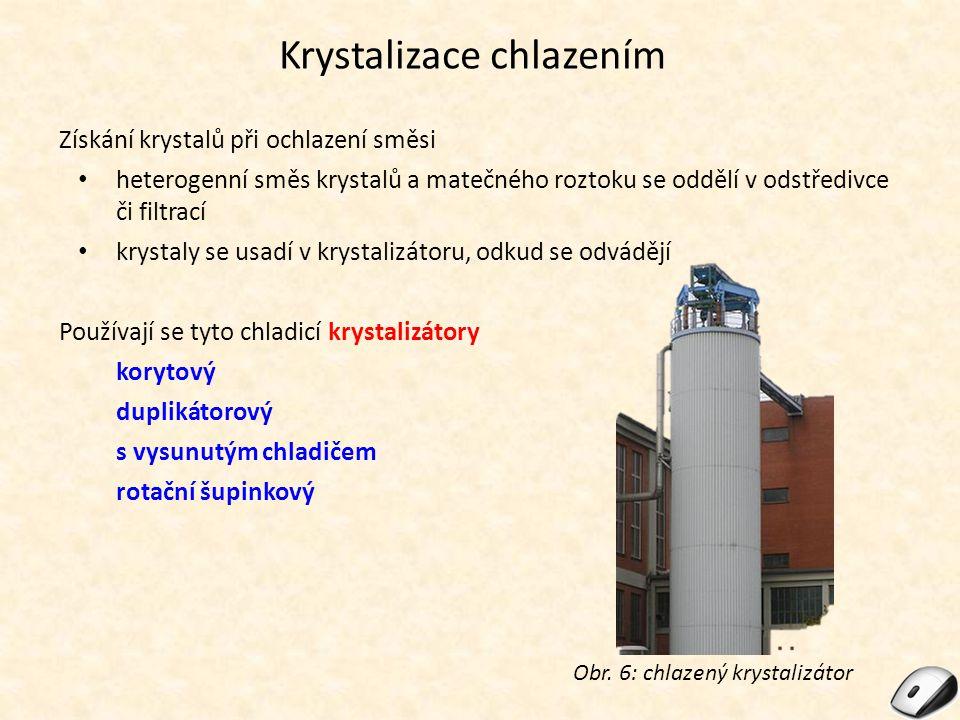Krystalizace chlazením Získání krystalů při ochlazení směsi heterogenní směs krystalů a matečného roztoku se oddělí v odstředivce či filtrací krystaly