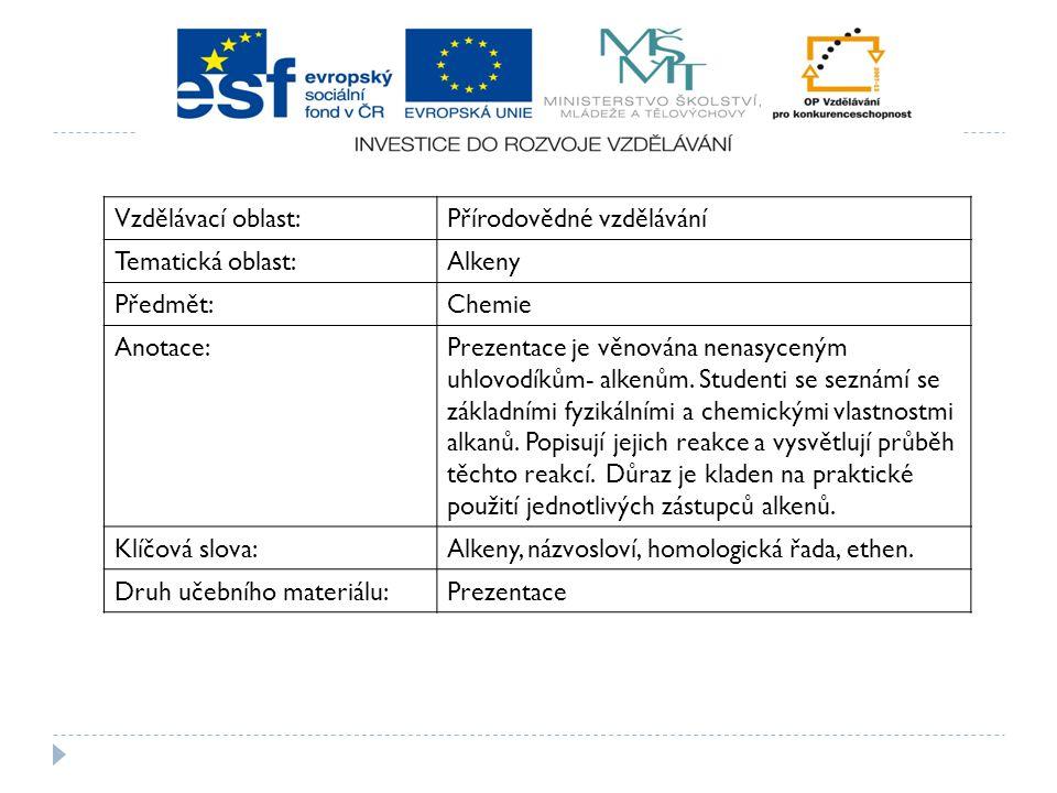 Vzdělávací oblast:Přírodovědné vzdělávání Tematická oblast:Alkeny Předmět:Chemie Anotace:Prezentace je věnována nenasyceným uhlovodíkům- alkenům. Stud