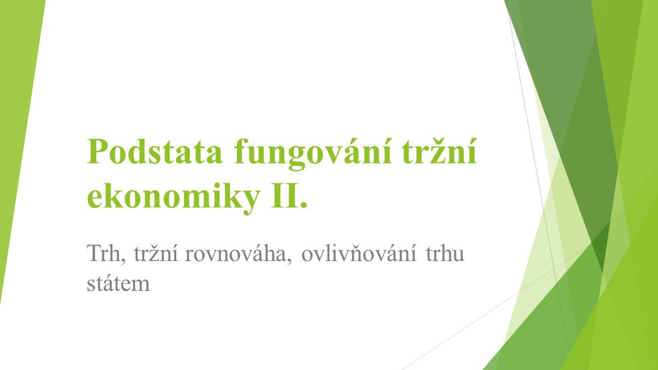 Principy tržního hospodářství 1.Soukromé vlastnictví výrobních činitelů 2.