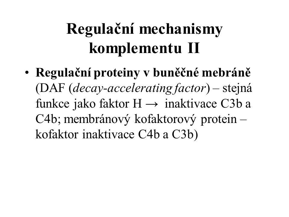 Regulační mechanismy komplementu II Regulační proteiny v buněčné mebráně (DAF (decay-accelerating factor) – stejná funkce jako faktor H → inaktivace C3b a C4b; membránový kofaktorový protein – kofaktor inaktivace C4b a C3b)