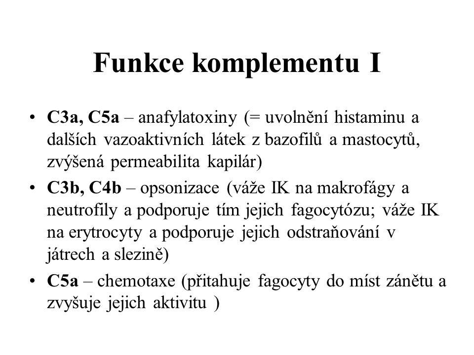 Funkce komplementu I C3a, C5a – anafylatoxiny (= uvolnění histaminu a dalších vazoaktivních látek z bazofilů a mastocytů, zvýšená permeabilita kapilár) C3b, C4b – opsonizace (váže IK na makrofágy a neutrofily a podporuje tím jejich fagocytózu; váže IK na erytrocyty a podporuje jejich odstraňování v játrech a slezině) C5a – chemotaxe (přitahuje fagocyty do míst zánětu a zvyšuje jejich aktivitu )