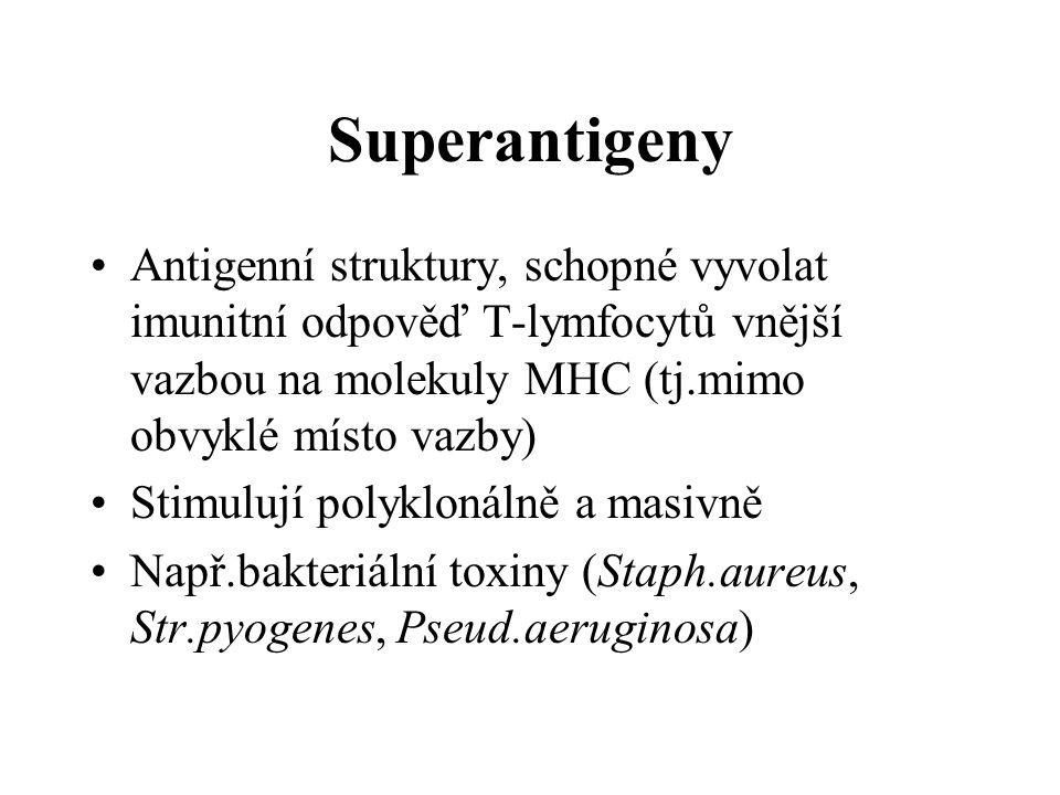 Superantigeny Antigenní struktury, schopné vyvolat imunitní odpověď T-lymfocytů vnější vazbou na molekuly MHC (tj.mimo obvyklé místo vazby) Stimulují polyklonálně a masivně Např.bakteriální toxiny (Staph.aureus, Str.pyogenes, Pseud.aeruginosa)
