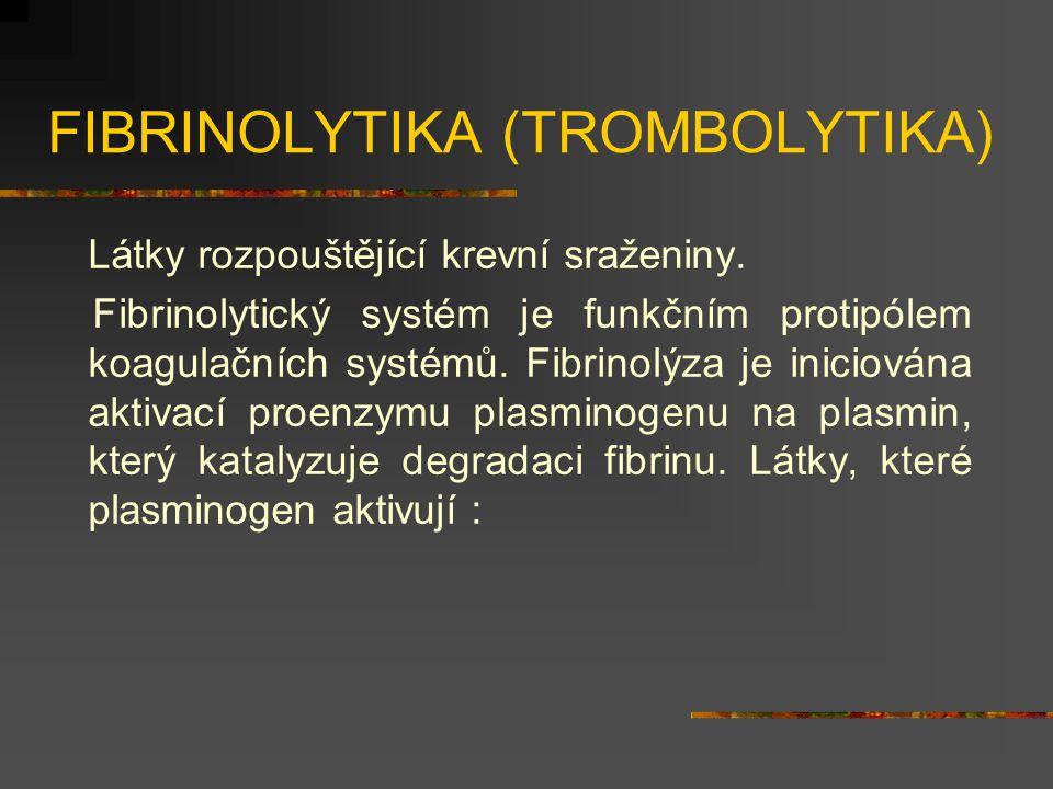 FIBRINOLYTIKA (TROMBOLYTIKA) Látky rozpouštějící krevní sraženiny.
