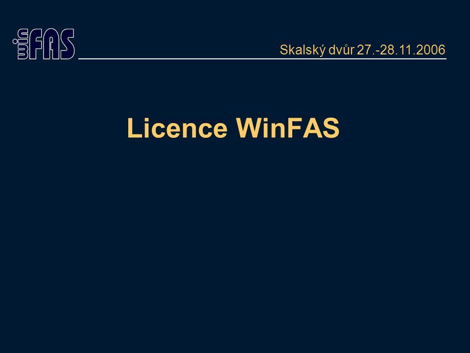Licence Licence umožňuje provoz IS WinFAS dle následujících kategorií: režim provozu - časové rozlišení licenční model- rozsah/způsob provozu licenční strom - moduly a funkce