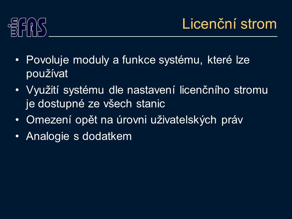 Licenční strom Povoluje moduly a funkce systému, které lze používat Využití systému dle nastavení licenčního stromu je dostupné ze všech stanic Omezení opět na úrovni uživatelských práv Analogie s dodatkem