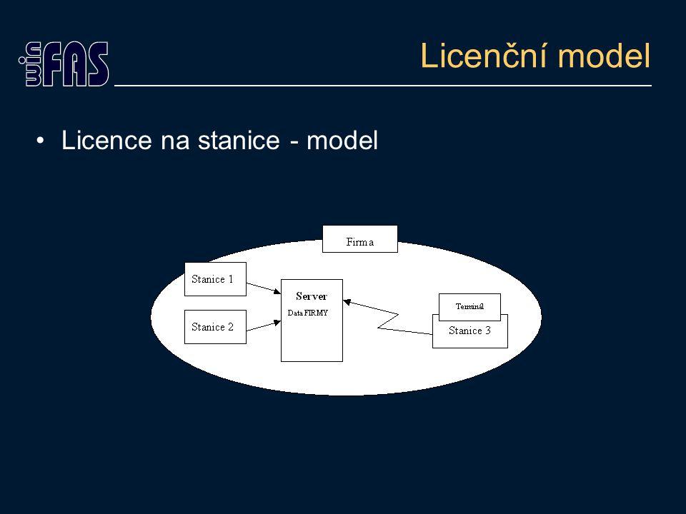 Licenční model Licence na počet firem Sleduje počet zpracovávaných firem Nezohledňuje kolik stanic se systémem pracuje Všechny stanice mají přístup ke zpracovávaným firmám v plném rozsahu licenčního stromu Využití jen pro účetní firmy