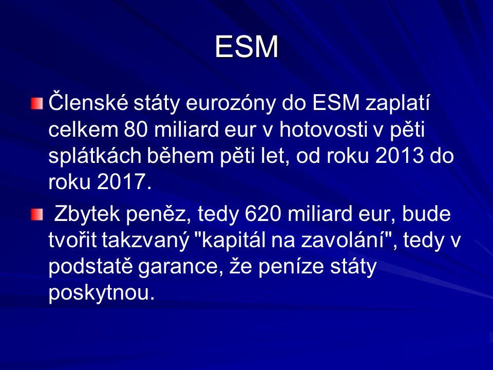 ESM Členské státy eurozóny do ESM zaplatí celkem 80 miliard eur v hotovosti v pěti splátkách během pěti let, od roku 2013 do roku 2017.