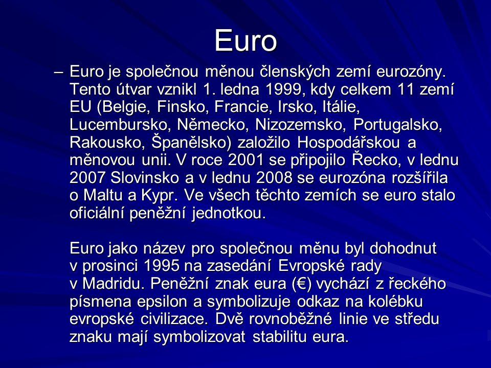 Harmonogram zavedení Eura 3.