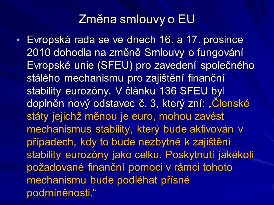 Změna smlouvy o EU Evropská rada se ve dnech 16. a 17. prosince 2010 dohodla na změně Smlouvy o fungování Evropské unie (SFEU) pro zavedení společného