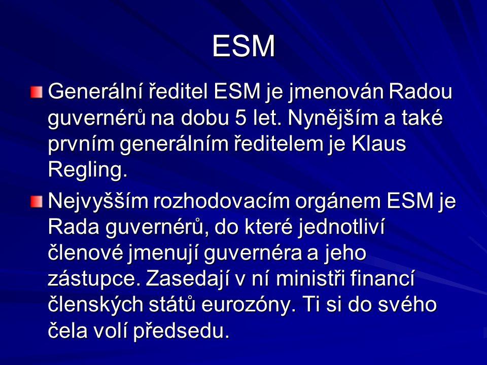 ESM Generální ředitel ESM je jmenován Radou guvernérů na dobu 5 let.