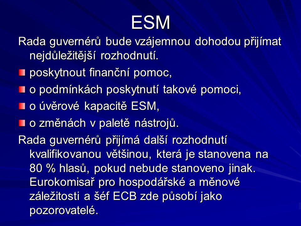ESM Rada guvernérů bude vzájemnou dohodou přijímat nejdůležitější rozhodnutí.