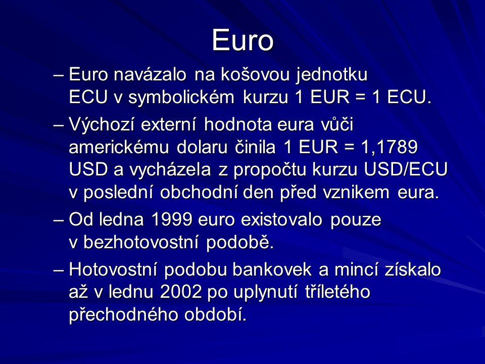 Euro –Euro navázalo na košovou jednotku ECU v symbolickém kurzu 1 EUR = 1 ECU. –Výchozí externí hodnota eura vůči americkému dolaru činila 1 EUR = 1,1