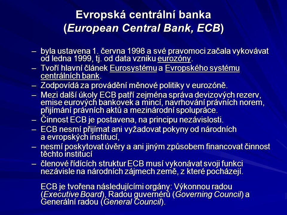 Evropská centrální banka (European Central Bank, ECB) –byla ustavena 1.
