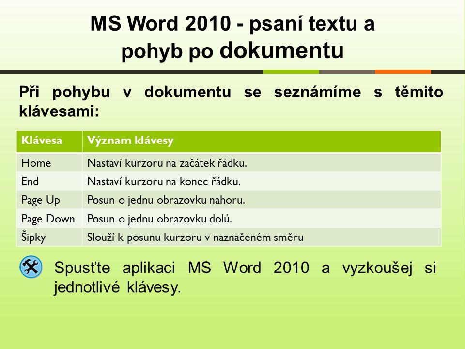 Při pohybu v dokumentu se seznámíme s těmito klávesami: MS Word 2010 - psaní textu a pohyb po dokumentu KlávesaVýznam klávesy Home Nastaví kurzoru na začátek řádku.