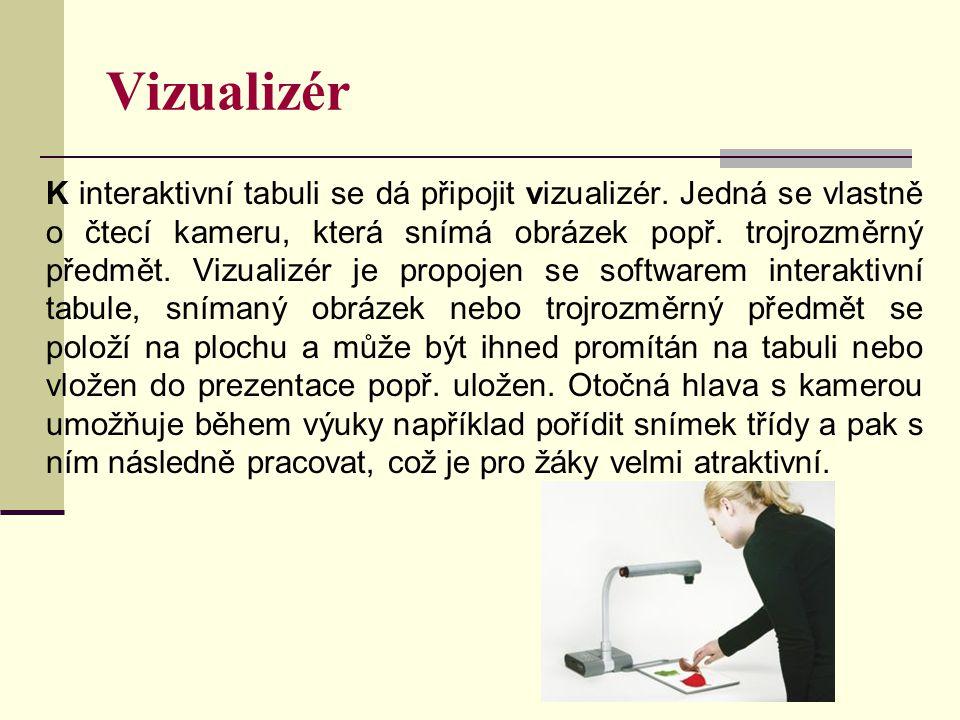 Vizualizér K interaktivní tabuli se dá připojit vizualizér. Jedná se vlastně o čtecí kameru, která snímá obrázek popř. trojrozměrný předmět. Vizualizé