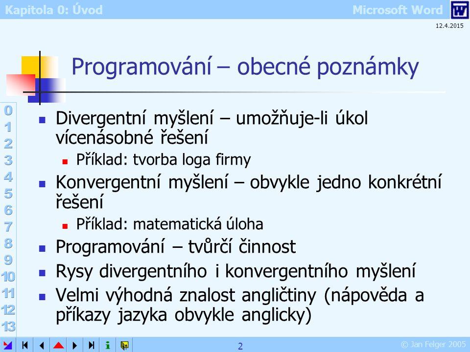 Kapitola 0: Úvod Microsoft Word © Jan Felger 2005 12.4.2015 2 Programování – obecné poznámky Divergentní myšlení – umožňuje-li úkol vícenásobné řešení