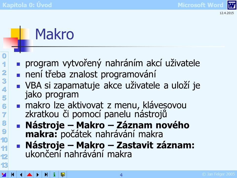 Kapitola 0: Úvod Microsoft Word © Jan Felger 2005 12.4.2015 4 Makro program vytvořený nahráním akcí uživatele není třeba znalost programování VBA si z