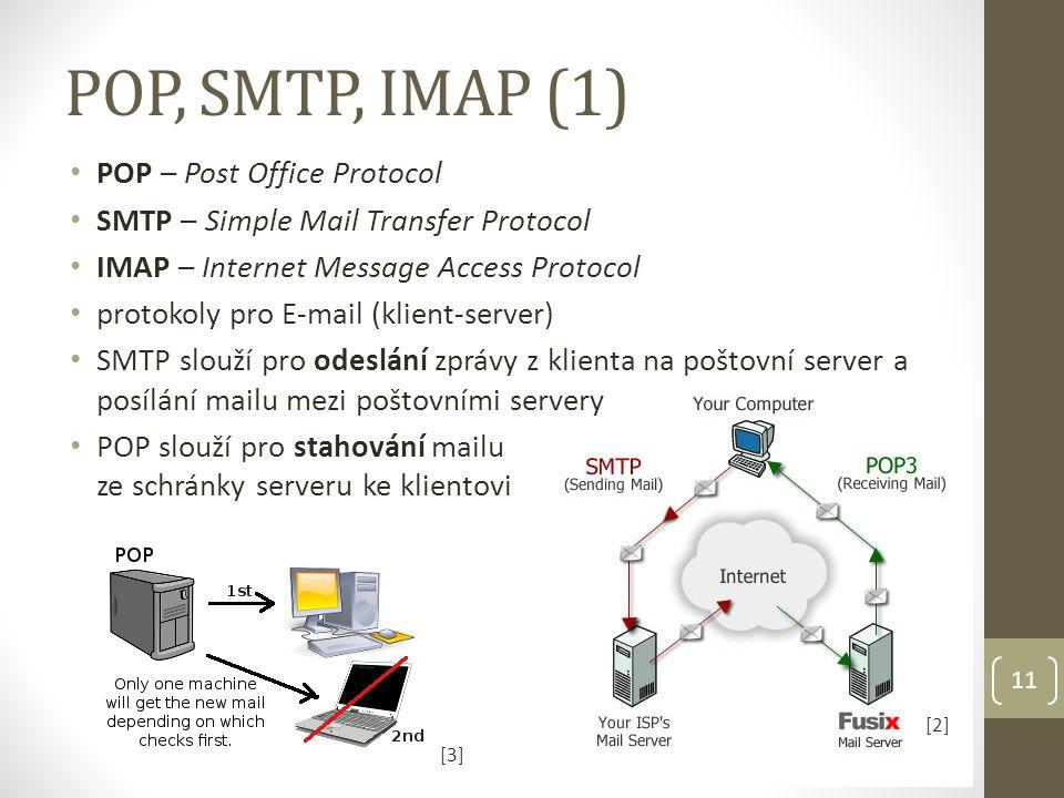 POP, SMTP, IMAP (1) 11 [2] POP – Post Office Protocol SMTP – Simple Mail Transfer Protocol IMAP – Internet Message Access Protocol protokoly pro E-mail (klient-server) SMTP slouží pro odeslání zprávy z klienta na poštovní server a posílání mailu mezi poštovními servery POP slouží pro stahování mailu ze schránky serveru ke klientovi [3][3]