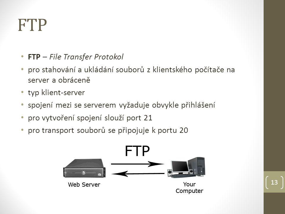 FTP FTP – File Transfer Protokol pro stahování a ukládání souborů z klientského počítače na server a obráceně typ klient-server spojení mezi se server
