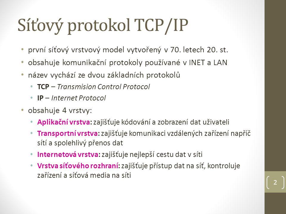 Síťový protokol TCP/IP 2 první síťový vrstvový model vytvořený v 70. letech 20. st. obsahuje komunikační protokoly používané v INET a LAN název vycház