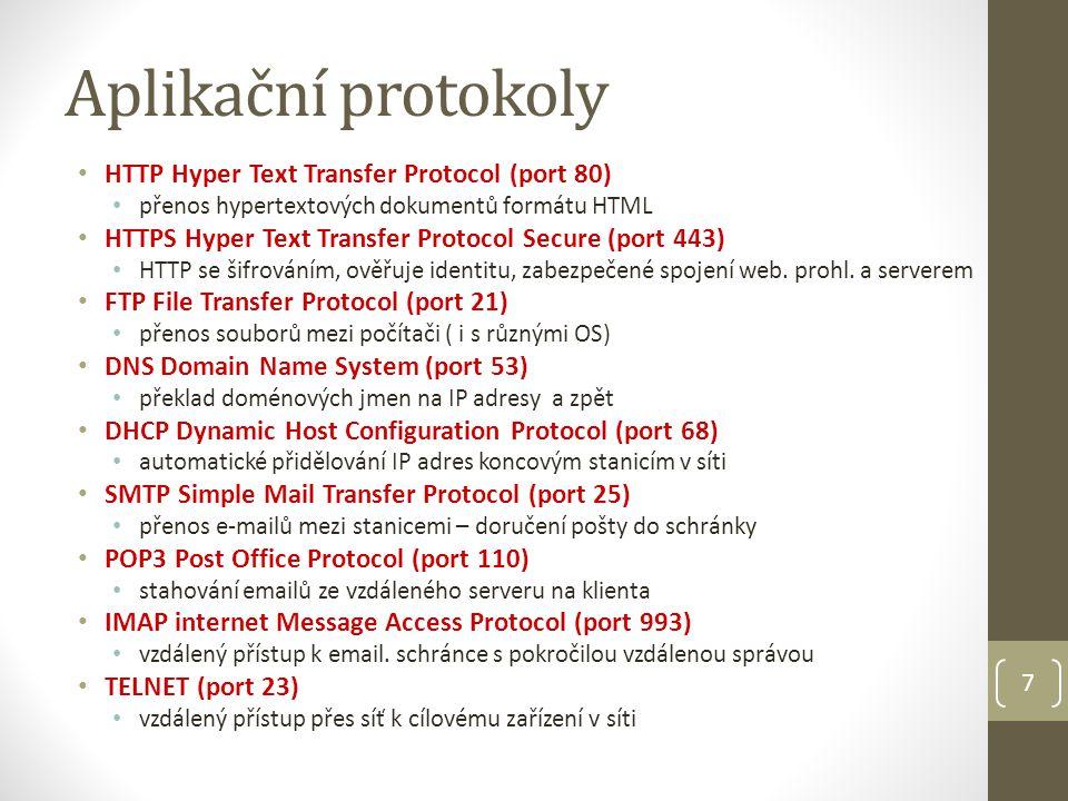 HTTP HTTP – Hypertext Transfer Protocol zajišťuje přenos dat z webového serveru do počítače klienta a určuje způsob komunikace serveru s klientem přenos dat není zabezpečený, přenos prostého textu pro šifrovaný přenos se používá protokol HTTPS webová adresa se označuje jako URL URL – Uniform Resource Locator – jedinečná adresa v síti protokol://doménové_jméno/adresářová_cesta/volaný_soubor http://www.plutopes.cz/files/smlouva_2010.pdf http://78.80.215.11:8080/bakaweb/login.aspx 8