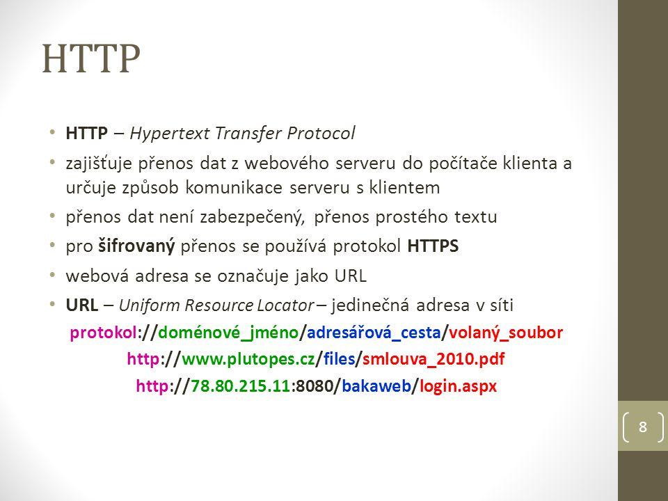 HTTP HTTP – Hypertext Transfer Protocol zajišťuje přenos dat z webového serveru do počítače klienta a určuje způsob komunikace serveru s klientem přen