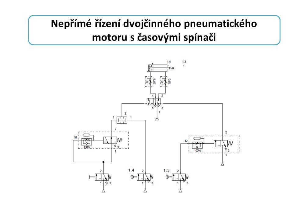 Nepřímé řízení dvojčinného pneumatického motoru s časovými spínači
