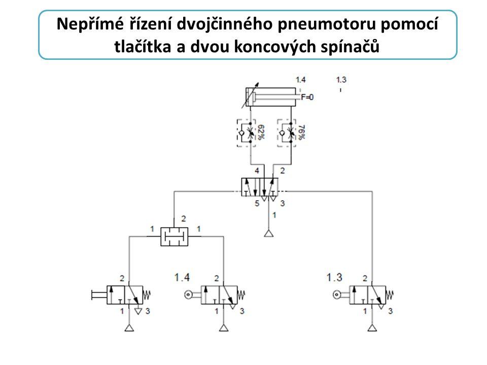 Nepřímé řízení dvojčinného pneumotoru pomocí tlačítka a dvou koncových spínačů