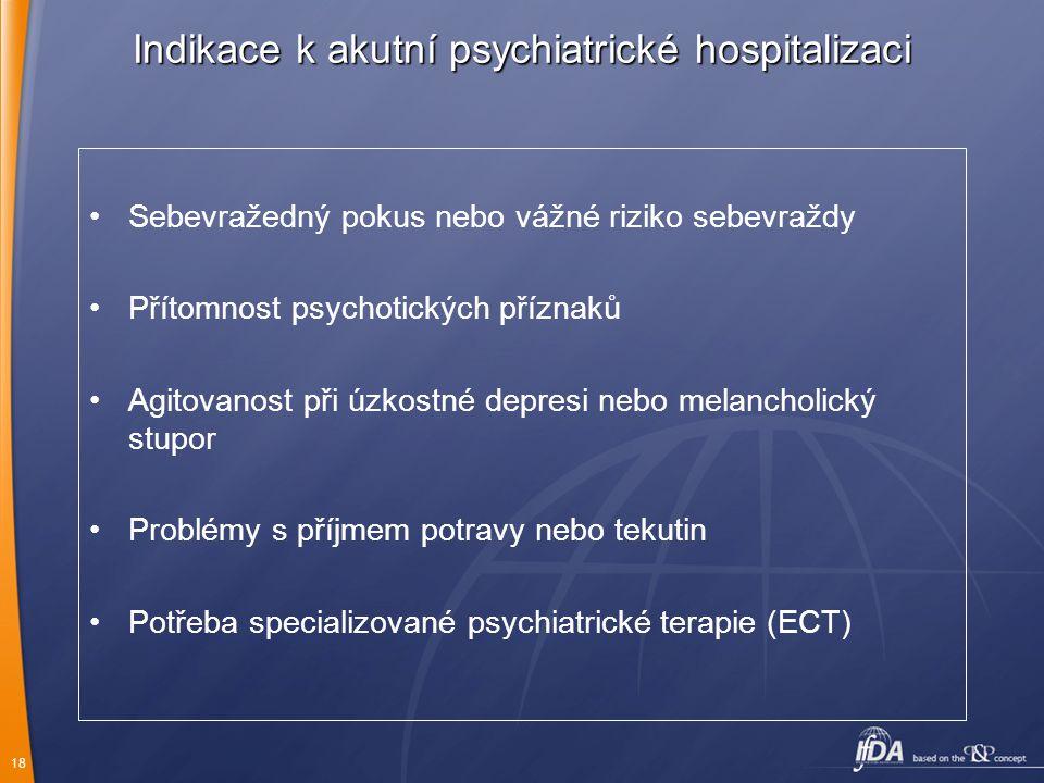 18 Indikace k akutní psychiatrické hospitalizaci Sebevražedný pokus nebo vážné riziko sebevraždy Přítomnost psychotických příznaků Agitovanost při úzk