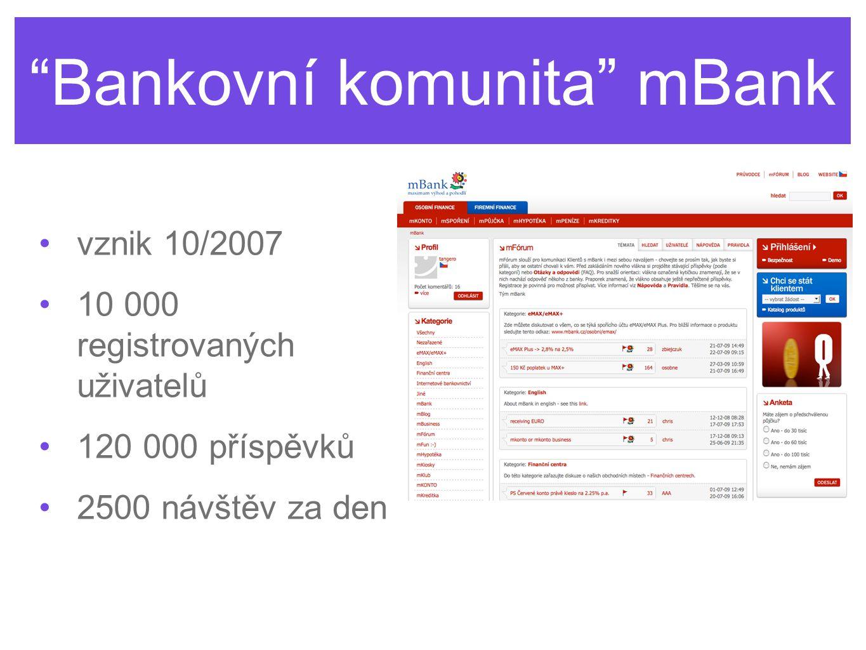 Bankovní komunita mBank vznik 10/2007 10 000 registrovaných uživatelů 120 000 příspěvků 2500 návštěv za den