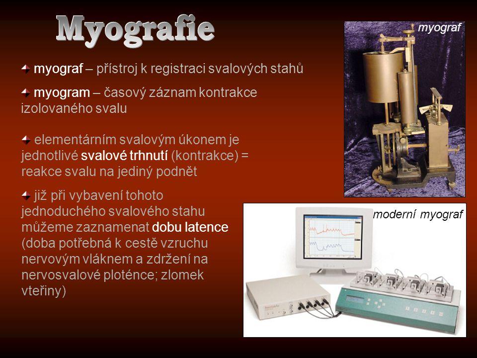 myograf – přístroj k registraci svalových stahů myogram – časový záznam kontrakce izolovaného svalu myograf elementárním svalovým úkonem je jednotlivé