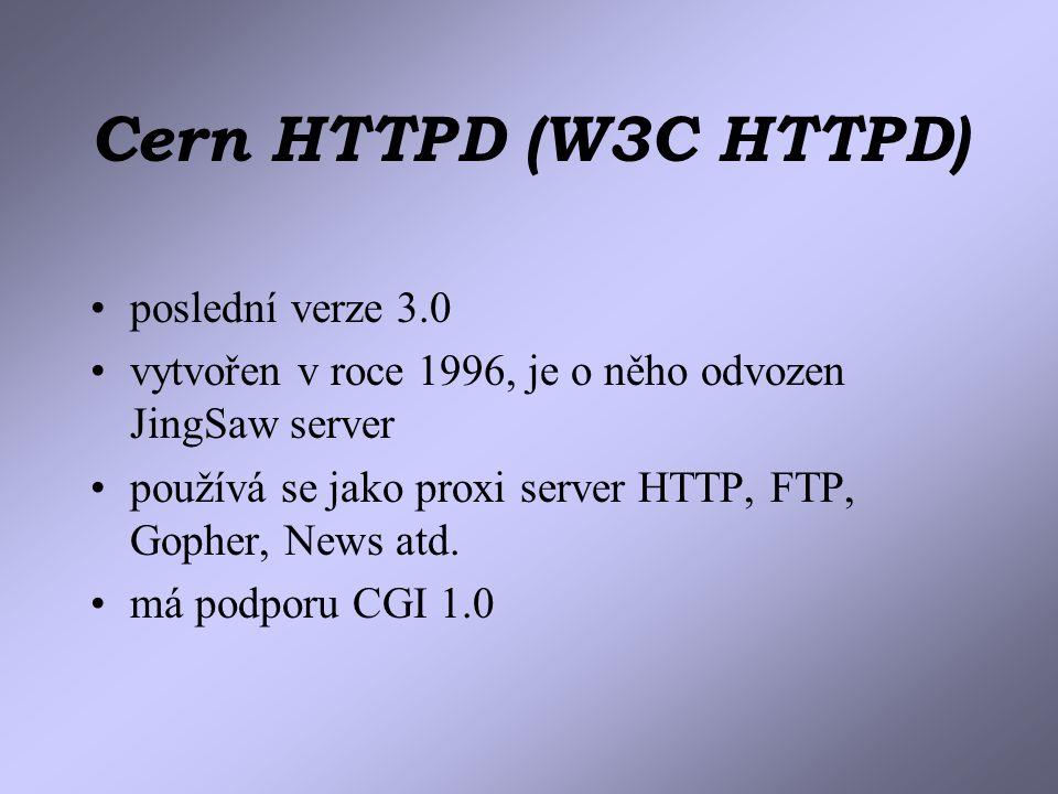 Cern HTTPD (W3C HTTPD) poslední verze 3.0 vytvořen v roce 1996, je o něho odvozen JingSaw server používá se jako proxi server HTTP, FTP, Gopher, News atd.