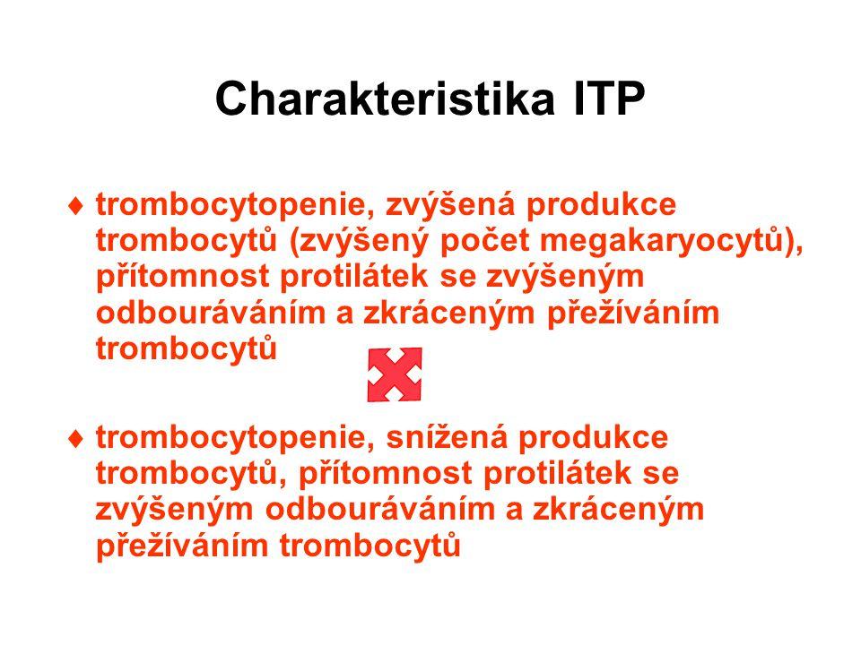 Charakteristika ITP  trombocytopenie, zvýšená produkce trombocytů (zvýšený počet megakaryocytů), přítomnost protilátek se zvýšeným odbouráváním a zkráceným přežíváním trombocytů  trombocytopenie, snížená produkce trombocytů, přítomnost protilátek se zvýšeným odbouráváním a zkráceným přežíváním trombocytů