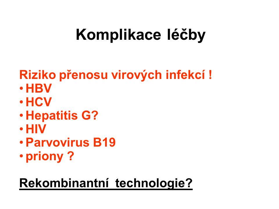 Komplikace léčby Riziko přenosu virových infekcí .