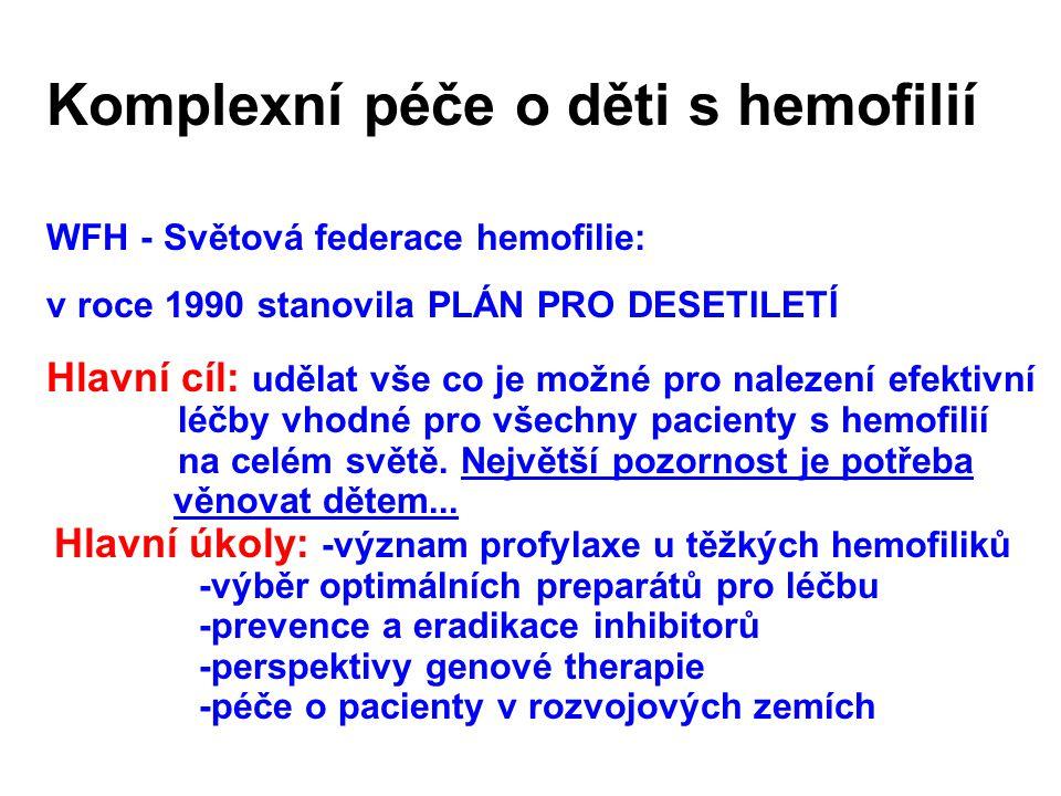 Komplexní péče o děti s hemofilií WFH - Světová federace hemofilie: v roce 1990 stanovila PLÁN PRO DESETILETÍ Hlavní cíl: udělat vše co je možné pro nalezení efektivní léčby vhodné pro všechny pacienty s hemofilií na celém světě.